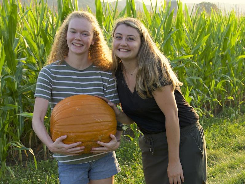 Girls with pumpkin