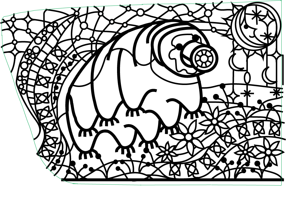 Water Bear Maze Line Drawing
