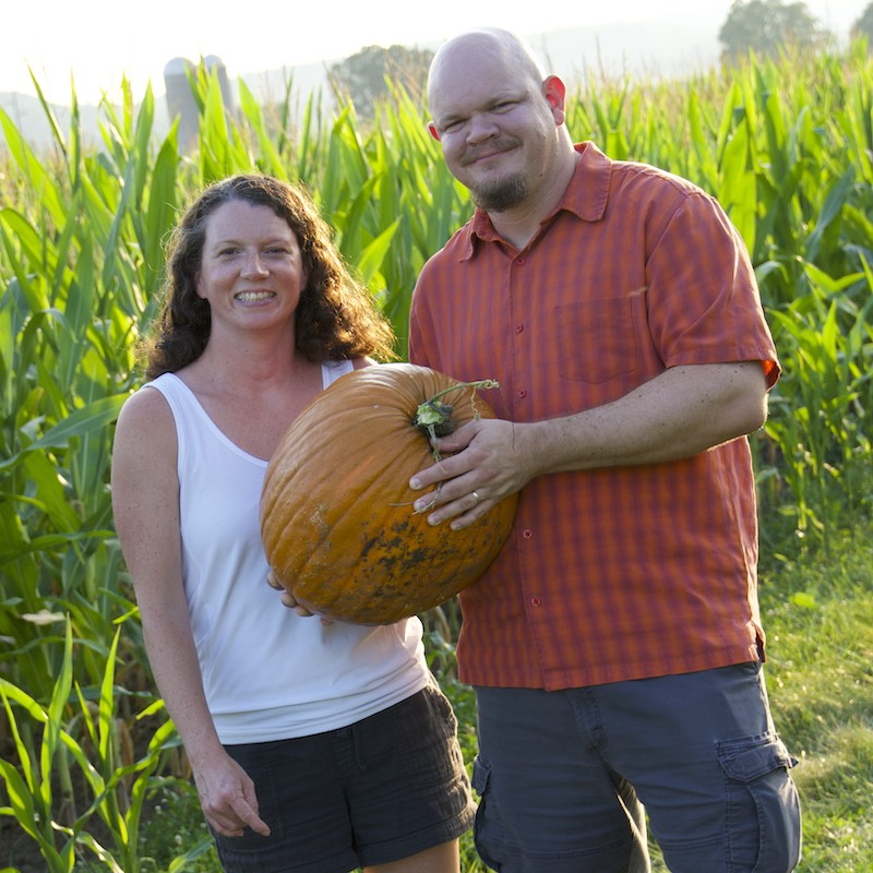Couple with pumpkin